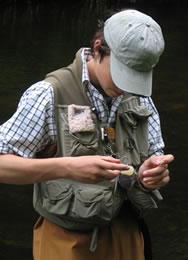 Treating a dry fly for perfect presentation